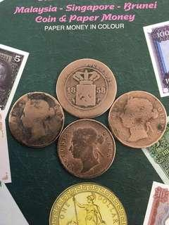 Straits Settlements Queen Victoria ~ 1¢ x 3 + 1 free unknown 1858 old coin ~ all coins more than 100 years old !