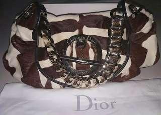 🚚 💯Authentic Christian Dior Brown/White Fur Zebra Print Calf Hair Hobo Shoulder Bag.#MRTRaffles