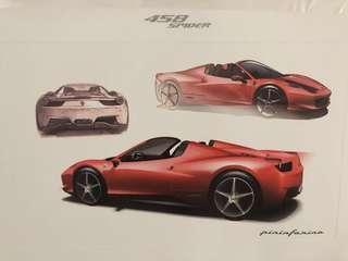 🚚 Original Ferrari Hand-drawn prints x3