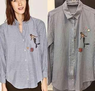 Zara blue stripe shirt