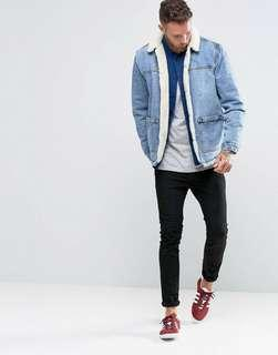 🚚 ASOS DESIGN borg lined denim jacket in blue wash