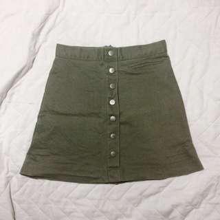 A line button skirt army green