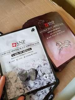 SNP Face Mask Charcoal Mineral Black & Prestige Mayu ampoule mask