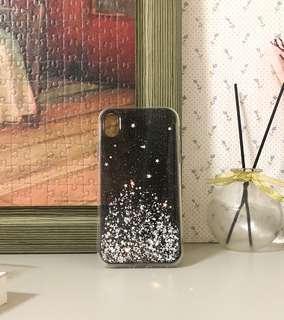 🚚 IPHONE XR 黑色銀箔微透明手機殼