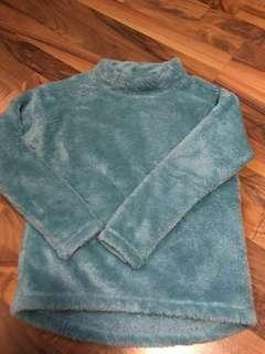 Turquoise high neck fleece jacket pullover Uniqlo #1212