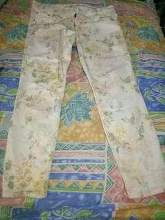 Skinny Trousers Motif bunga