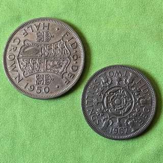 Great Britain 2 Shillings, 1/2 Crown Coins, 2 pcs
