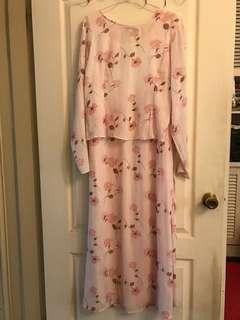 🚚 粉玫瑰長洋裝(二手)