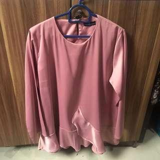 Bangkok Pink Long Sleeve Flare Blouse