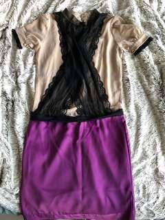 Valentino (factory overrun) purple silk skirt dress with lace