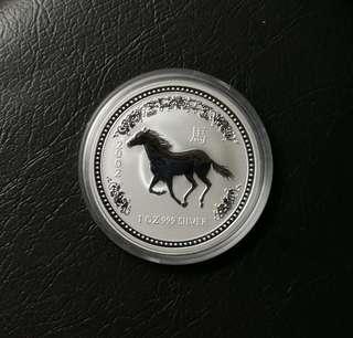 2002 澳洲生肖系列第一組馬年1安士純銀紀念幣