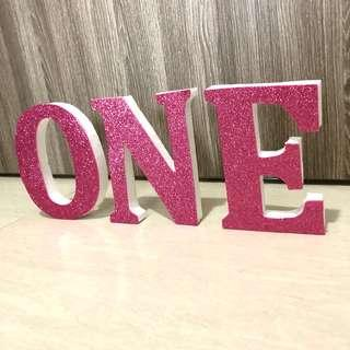[For Rent] One Pink Glitter Wording Decoration