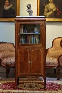 1900年前後法國桃花芯木細木鑲嵌小書櫃