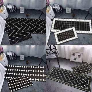 Black Kitchen 2pcs/set Geometric Pattern Floor Mat [CR0041]