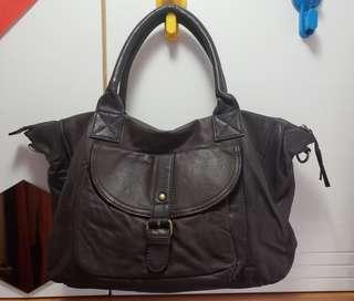 羊皮手袋 leather tote handbag dark brown