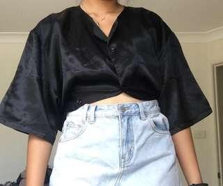 Black satin button up blouse