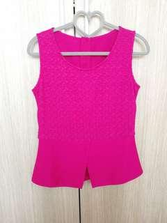 🚚 Bright Pink lace crochet peplum sleeveless top