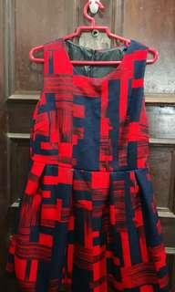 Pretty Short Red / Navy Dress - Size S