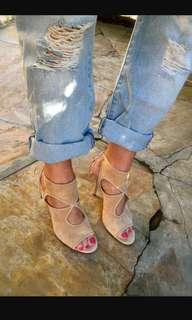 AQUAZZURA Sexy Thing Nude Suede Sandal Heels 85 size 38.5