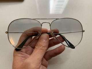 RayBan 正品 漸變灰色鏡片銀框太陽眼鏡