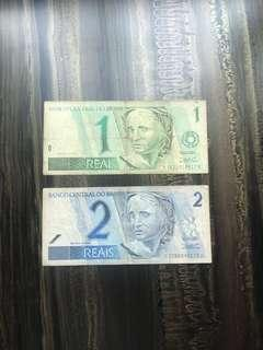 Old Brazil 1 Reals and 2 Reals Paper  Banknotes Rare