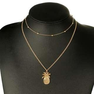 Trendy necklace set Simple gold color  bead double necklace (READY STOCK)