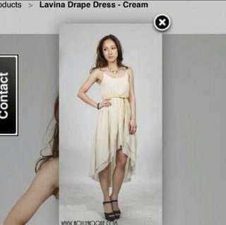 🚚 BN Hollyhoque Lavinia draped dress in cream