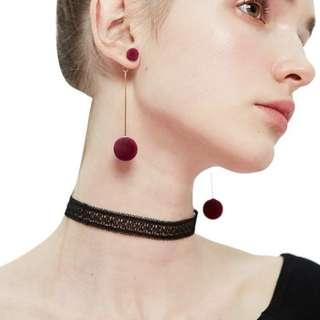 Ethnic Long Double Ball Pom Pom Earrings (READY STOCK)