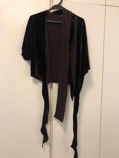 MaxAzria Collection brown velvet and silk top from Lane Crawford