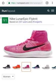 Pink Nike Women's LunarEpic Flyknit US7.5 UK5 EU38.5