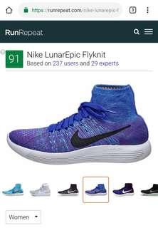 Blue Nike Women's LunarEpic Flyknit US7.5 UK5 EU38.5