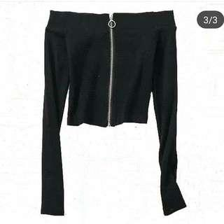 全新黑色針織7分袖上衣