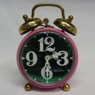Vintage West Germany Pink Green Blessing Small Desk Alarm Clock Bell windup