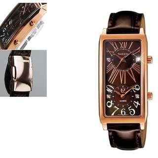 Jam tangan Casio Original model dual time SHE-4035PGL