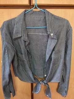 BN Blue Striped Outerwear Top