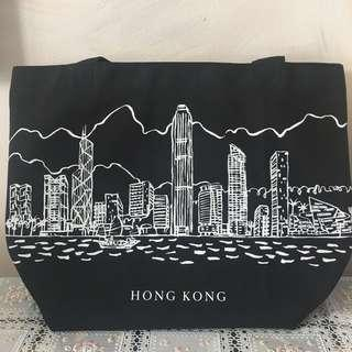 全新DFS黑色香港景觀手挽袋側咩袋大袋