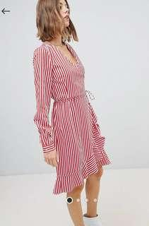 Vero Moda Striped white and red wrap dress size S fits 8 and 10