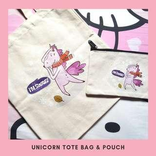 🚚 BN Unicorn Canvas Tote Bag & Pouch