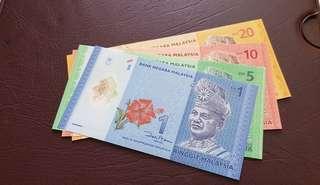 Malaysia RM1-5-10-20 Ringgit Banknotes UNC Prefix AA