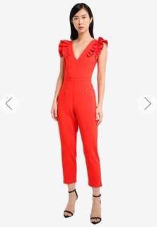 MISS SELFRIDGE Petite Red Ruffle Sleeve Jumpsuit
