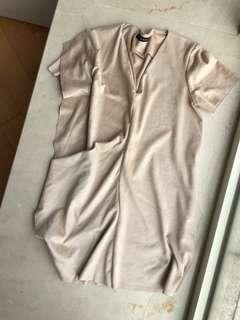 Zara Basic Beige/ Nude Work Dress 簡約風 連身裙 絨質 返工杉