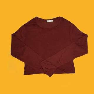 cotton on brown long sleeved crop top