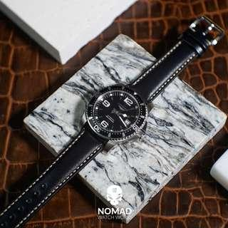 🚚 Quick Release Classic Leather Strap in Black (available in 18, 20 and 22mm)