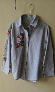 Floral Embroidery Stripe Shirt