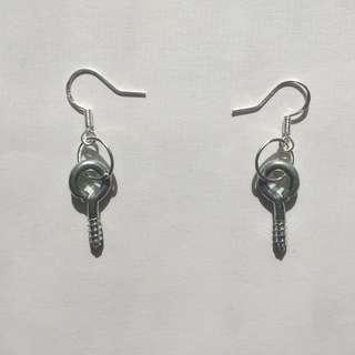 Silver hardware screw earrings