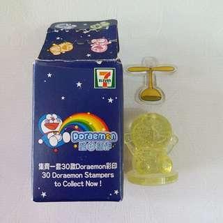 7-11 Doraemon瑩印搞作淺黃閃粉印章連竹蜻蜓小道具