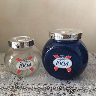 全新Kronenbourg藍色及透明玻璃瓶玻璃樽