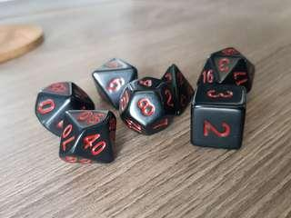 Black and Red Dice: Set of 7, BN