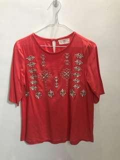 Bayo embroidered coral top
