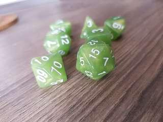 Cloudy Lime Green Dice